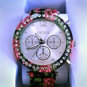 NWT Floral Printed Watch with Diamond Detailing